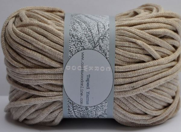 Oatmeal cotton Chunky Tape yarn for knitting weaving and embellishing